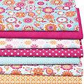 """Lot de 7 coupons de tissu patchwork """"mandala"""", bleu/rose vif"""
