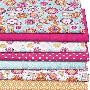 Lot de 7 coupons de tissu patchwork 'mandala', bleu/rose vif