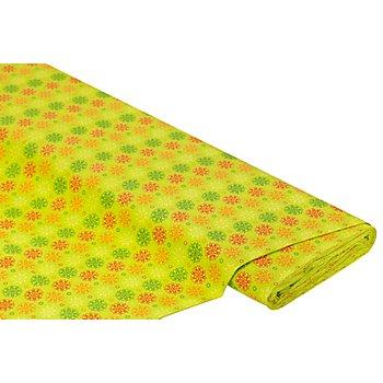 Tissu coton 'fleurs graphiques', vert multicolore