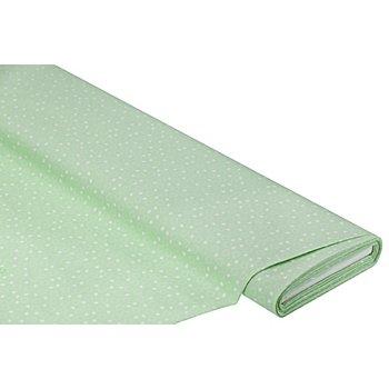 Baumwollstoff Herzchen 'Mona', lindgrün/weiß