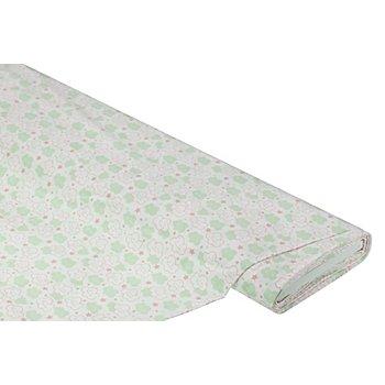 Baumwollstoff Wölkchen & Sterne 'Mona', weiß/lindgrün