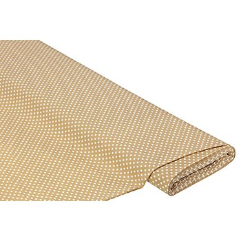 Tissu coton 'pois', beige/blanc