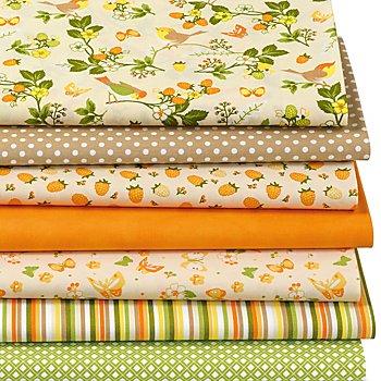Patchwork- und Quiltpaket 'Vögel & Beeren', orange