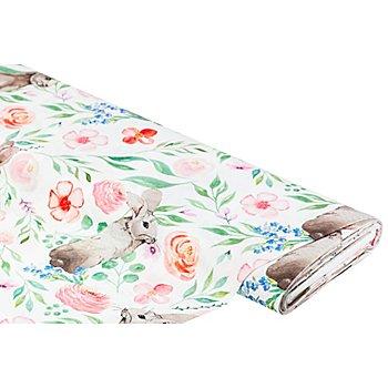 Baumwollstoff-Digitaldruck 'Hasen & Blumen', weiss-color