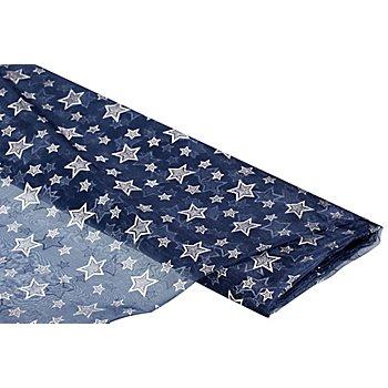 Tissu organza 'étoiles', bleu/argent