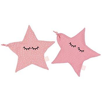Kit couture 'doudou mouchoir - étoile', rose, pour 2 doudous