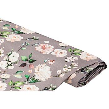 Dekostoff 'Blumen', grau-color