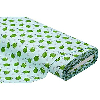 Tissu coton 'grenouille avec couronne', vert multicolore