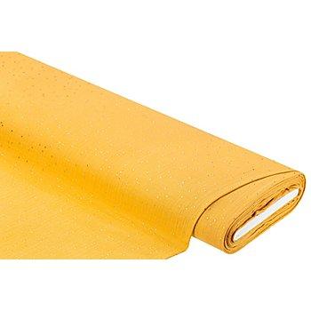 Musselin mit Glitzerdruck 'Tupfen', curry/gold