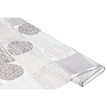 Abwaschbare Tischwäsche / Wachstuch 'Mandala-Karo', natur-grau-color