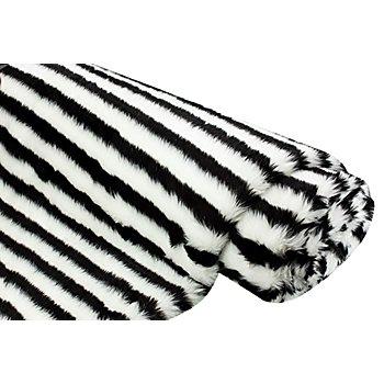 Tissu peluche à poils longs 'rayures', avec un envers lisse, noir/blanc