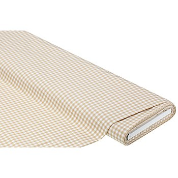 Tissu coton vichy, 5 x 5 mm, lin/blanc