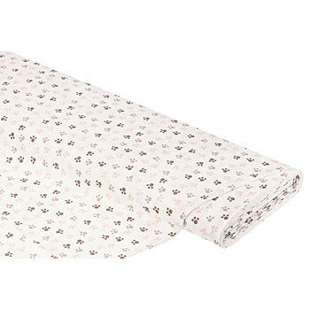 Baumwollstoff Tatzen 'Mona', weiß-color