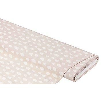 Tissu coton 'nuages', taupe/blanc