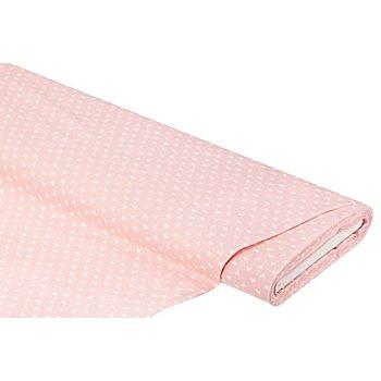 Baumwollstoff Herzen 'Mona', rosa/weiß