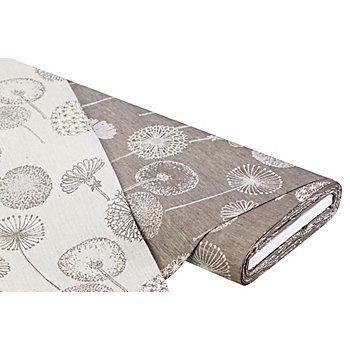 Tissu jacquard bio lin-coton, 'pissenlit', graphite/écru