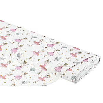 Tissu coton 'ballerines et cygnes', blanc/rose