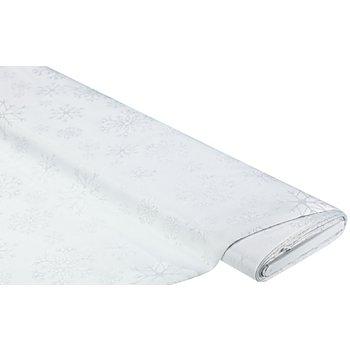 Tissu jacquard 'flocons de neige' avec fil scintillant, blanc/argenté
