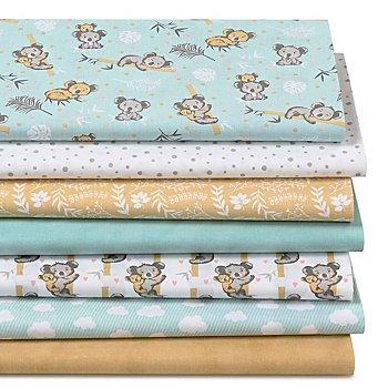 Lot de 7 coupons de tissu patchwork 'koala', vert menthe