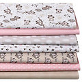 "Lot de 7 coupons de tissu patchwork ""koala"", rose"
