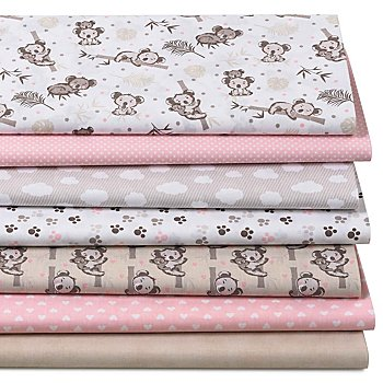 Lot de 7 coupons de tissu patchwork 'koala', rose