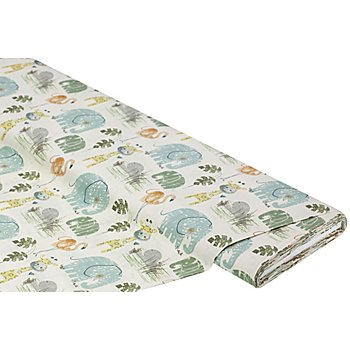 Bio-Baumwollstoff 'Elefant, Giraffe & Co.', natur-color