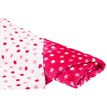 Wellness-Fleece Doubleface 'Sterne', pink/weiß