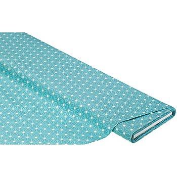 Tissu coton enduit 'motif graphique', bleu lagune/blanc