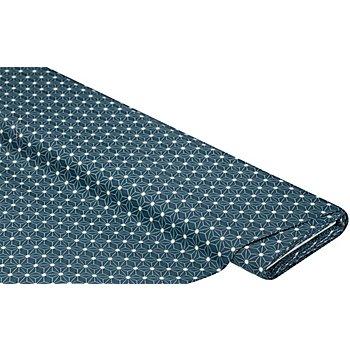 Tissu coton enduit 'motif graphique', bleu nuit/blanc