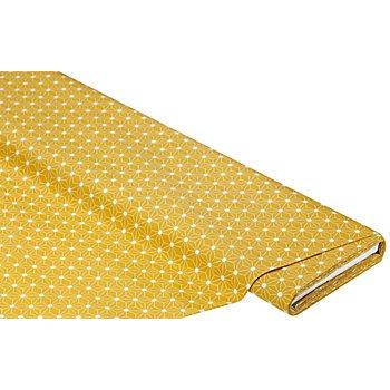 Tissu coton enduit 'motif graphique', ocre/blanc