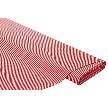 Baumwollstoff Streifen 'Mona', rot/grau
