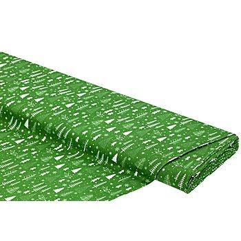 Baumwollstoff Bäume/Kristalle 'Mona', grün/weiß