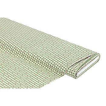 Baumwollstoff Karo/Herzchen 'Mona', taupe/grün