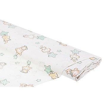 Tissu coton 'animaux sur balançoires', blanc multicolore