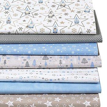 Patchwork- und Quiltpaket 'Wichtel & Sterne', blau/beige