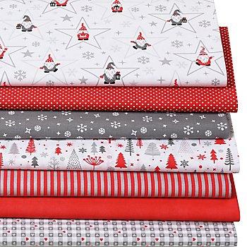 Lot de 7 coupons de tissus patchwork 'lutins & étoiles', rouge/gris