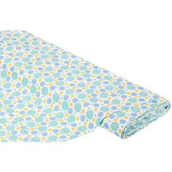 Baumwollstoff Kreise Valence 'Mona', mint/gelb/blau