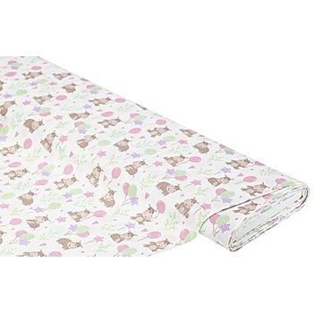 Tissu coton 'hippopotames & ballons', blanc multicolore