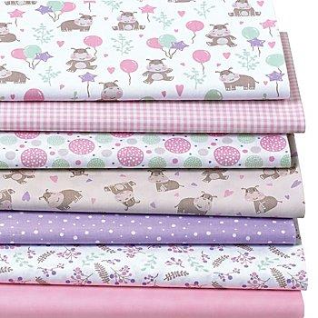 Patchwork- und Quiltpaket 'Nilpferd', rosa/lila