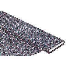 Tissu coton 'fleurs', bleu foncé multicolore