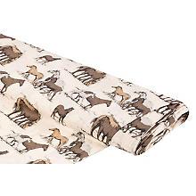 Tissu coton 'chevaux', tons écrus