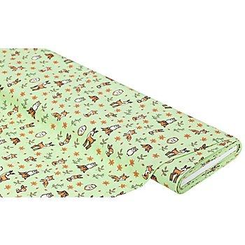 Baumwollstoff Waldtiere 'Mona', hellgrün