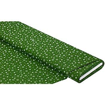 Baumwollstoff Kristalle 'Mona', grün/weiß