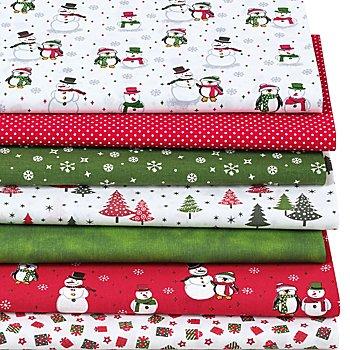 Lot de 7 coupons de tissus patchwork 'bonhommes de neige', rouge