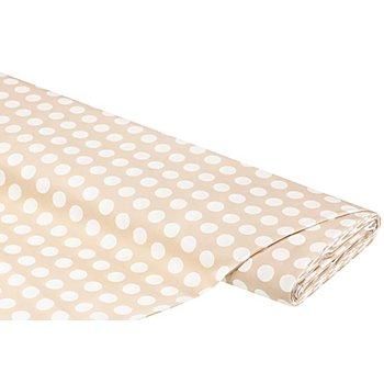 Tissu coton 'pois', marron clair/blanc