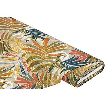 Dekostoff Blätter 'Lorena', taupe/orange