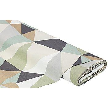 Dekostoff Dreiecke 'Lorena', beige/grün/braun
