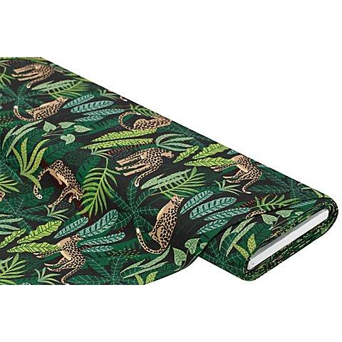 "Image of Dekostoff Dschungel/Leoparden ""Lorena"", grün-color"