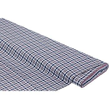 Baumwoll-Webkaro, blau/rot/weiß