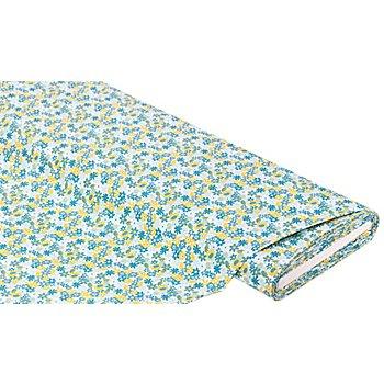 Tissu coton 'petites fleurs', blanc/bleu